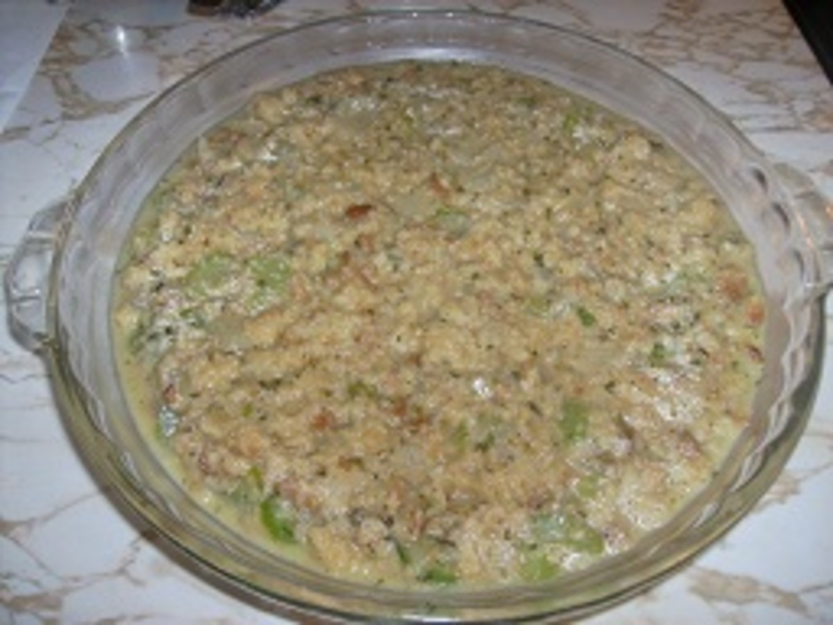 "The ""before"" photo, just before placing the stuffing in the oven."