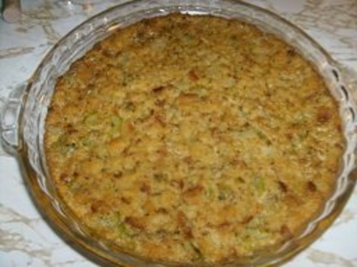 Delicious stuffing, hot from the oven