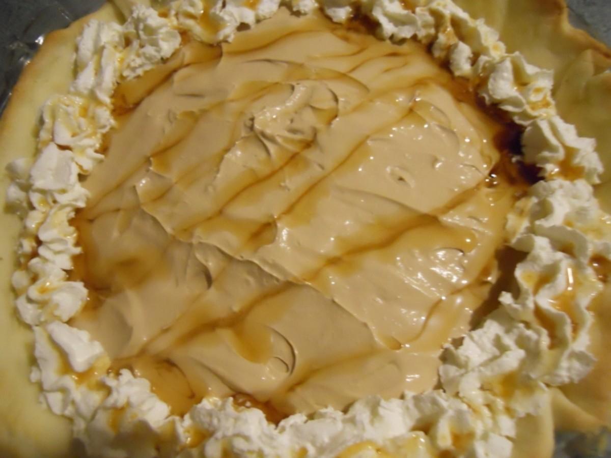 Decorative Topping on Maple Walnut Cream Cheese Pie