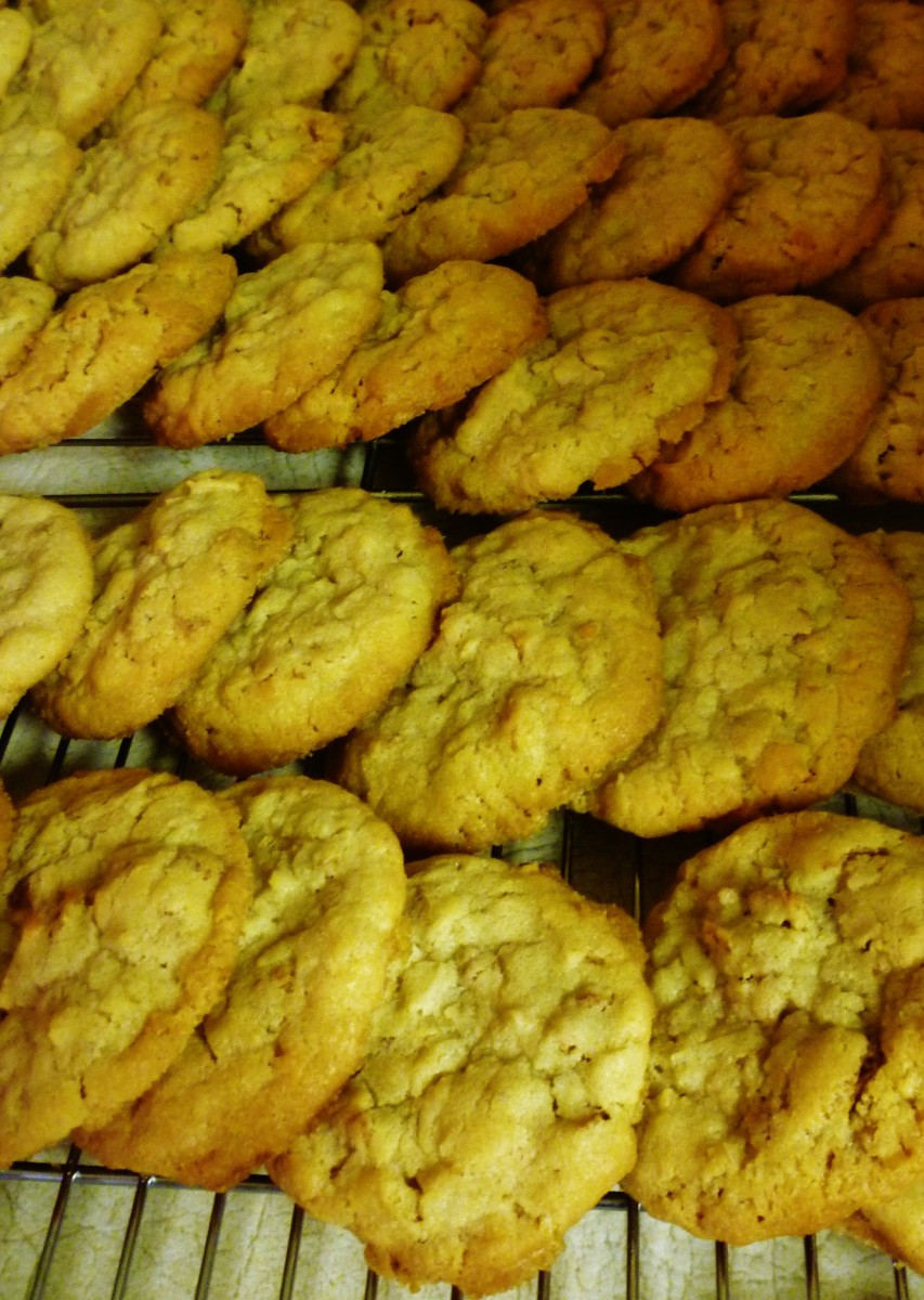 Cool the wheatie cookies on racks.  The ones pictured here have cooled a bit and are stacked until completely cool and ready to be packaged.