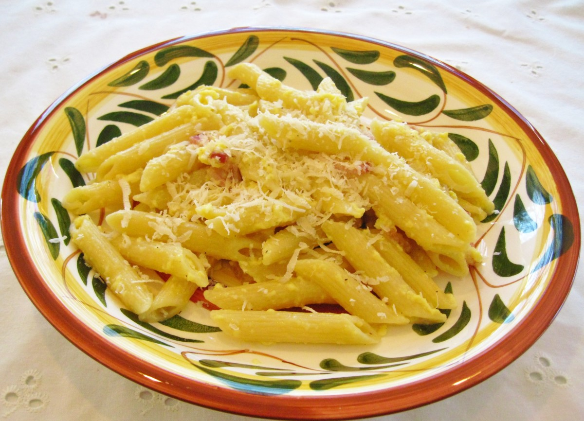 A nice home made pasta dish is healthy, nutritious, and most children simply love pasta. - Penne Carbonara