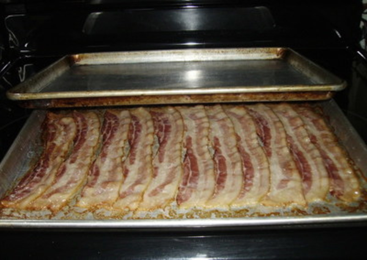 Check on the bacon after 30 minutes. This picture shows the bacon isn't done enough. Add 15 minutes and then check again.