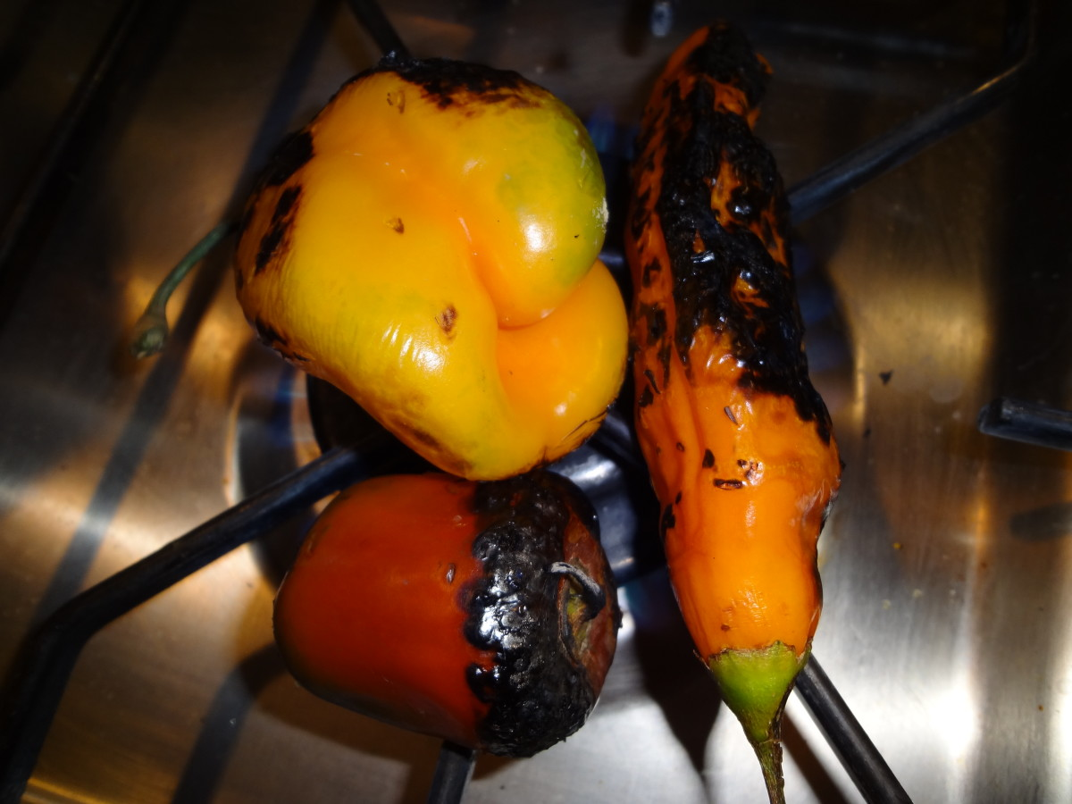 Roasting chiles on a gas burner