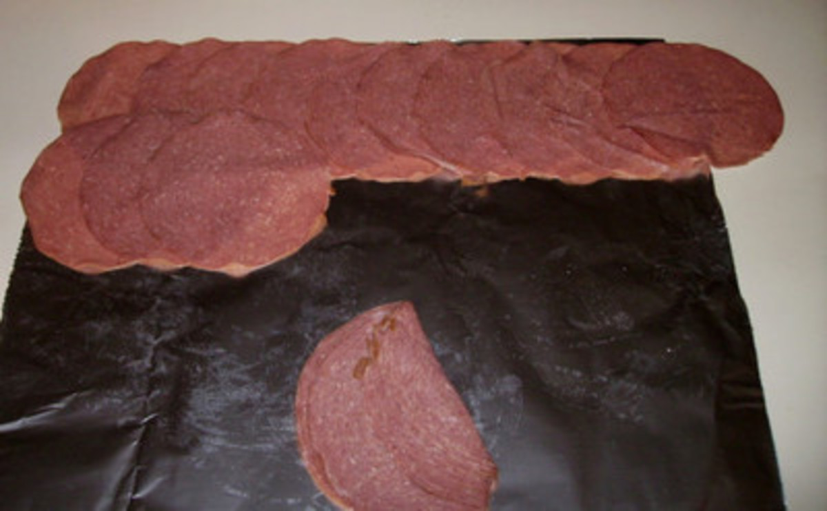 How to lay out beef slices. I like to use a sheet of tinfoil, which helps later when I'm ready to do the rolling.