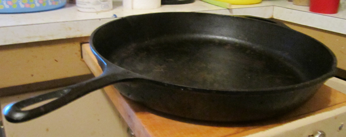 A skillet. This one is starting to lose its finish. Time to re-season before it starts to stick and develop rust!