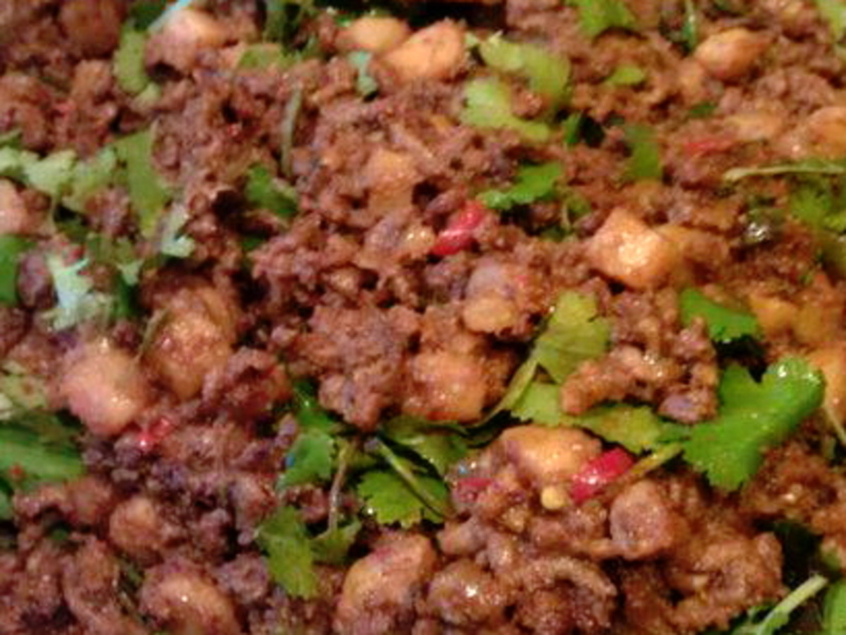 Spicy beef filling.