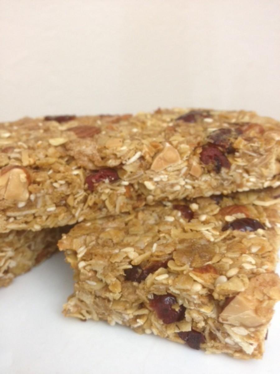 Healthy granola energy bars.