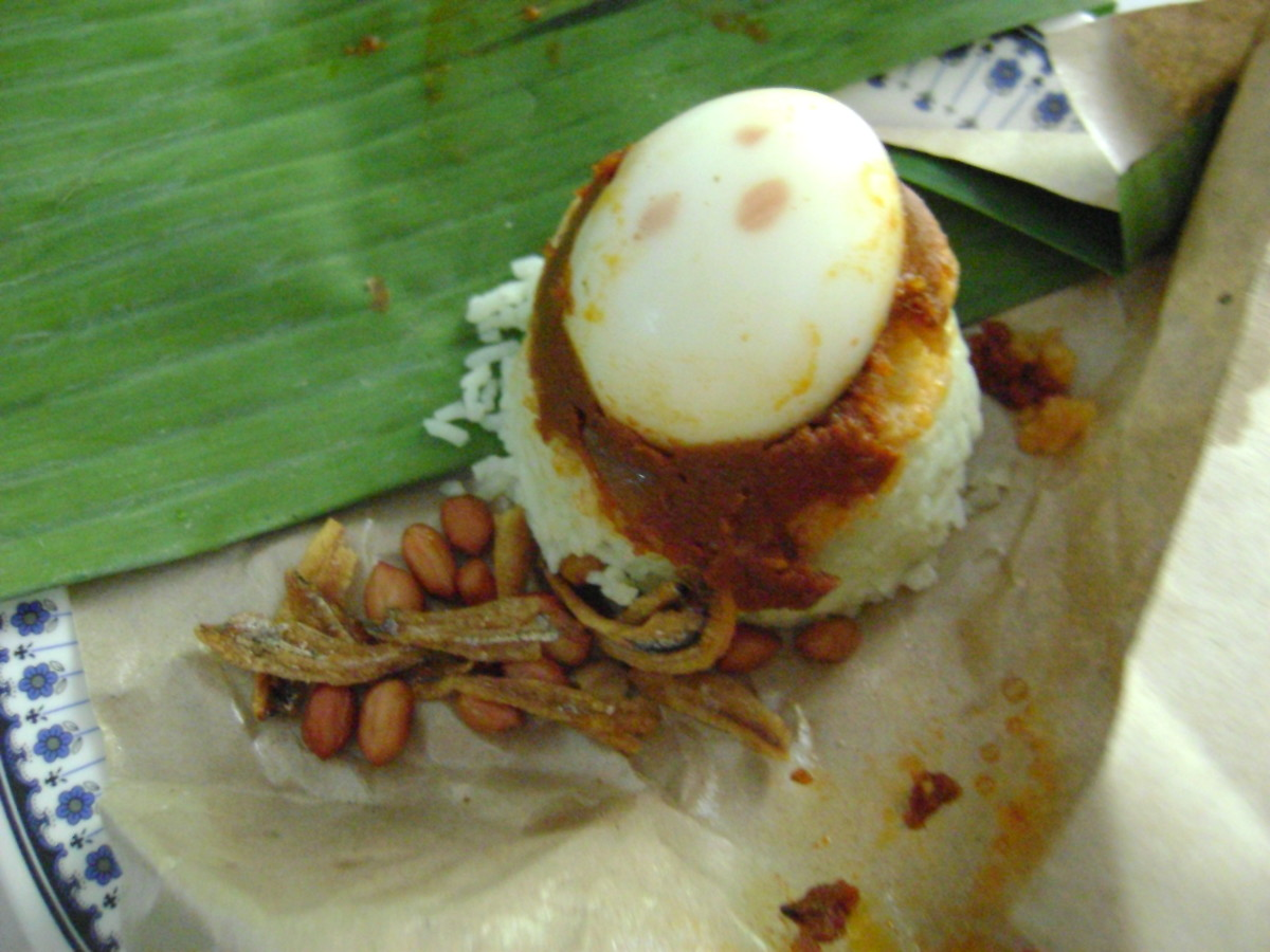Nasi lemak: fragrant rice, wrapped and ready to go.