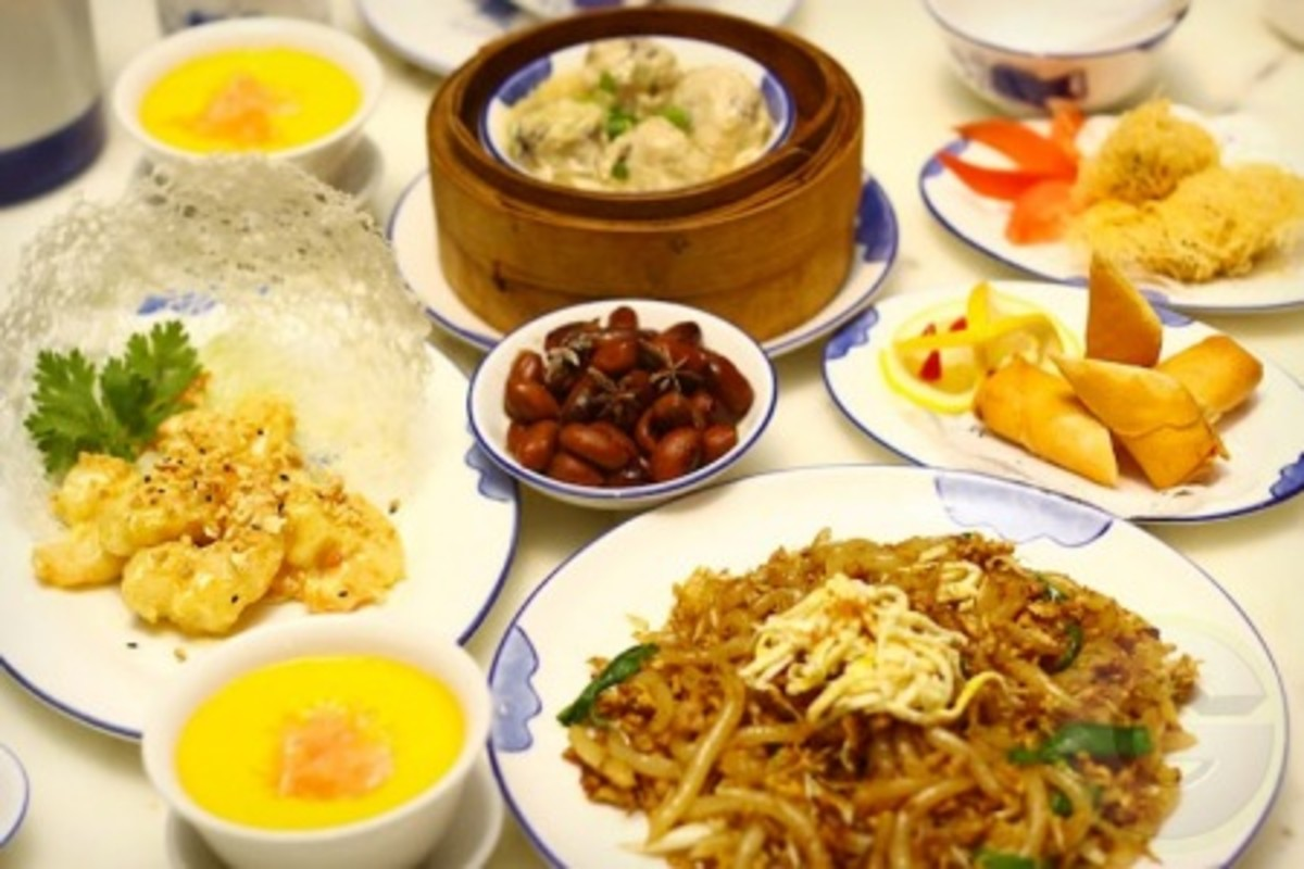 Dim sum features small steamed or fried savory dumplings.
