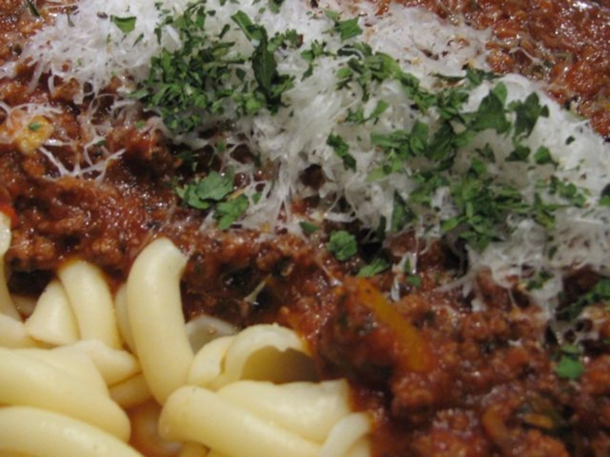 A healthy bolognaise with 'snail' pasta.