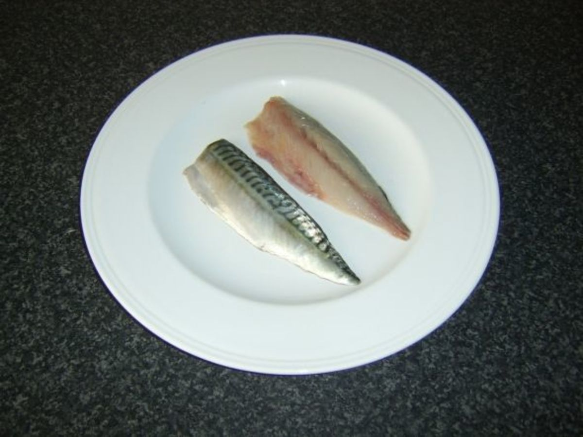 Two perfect mackerel loin fillets
