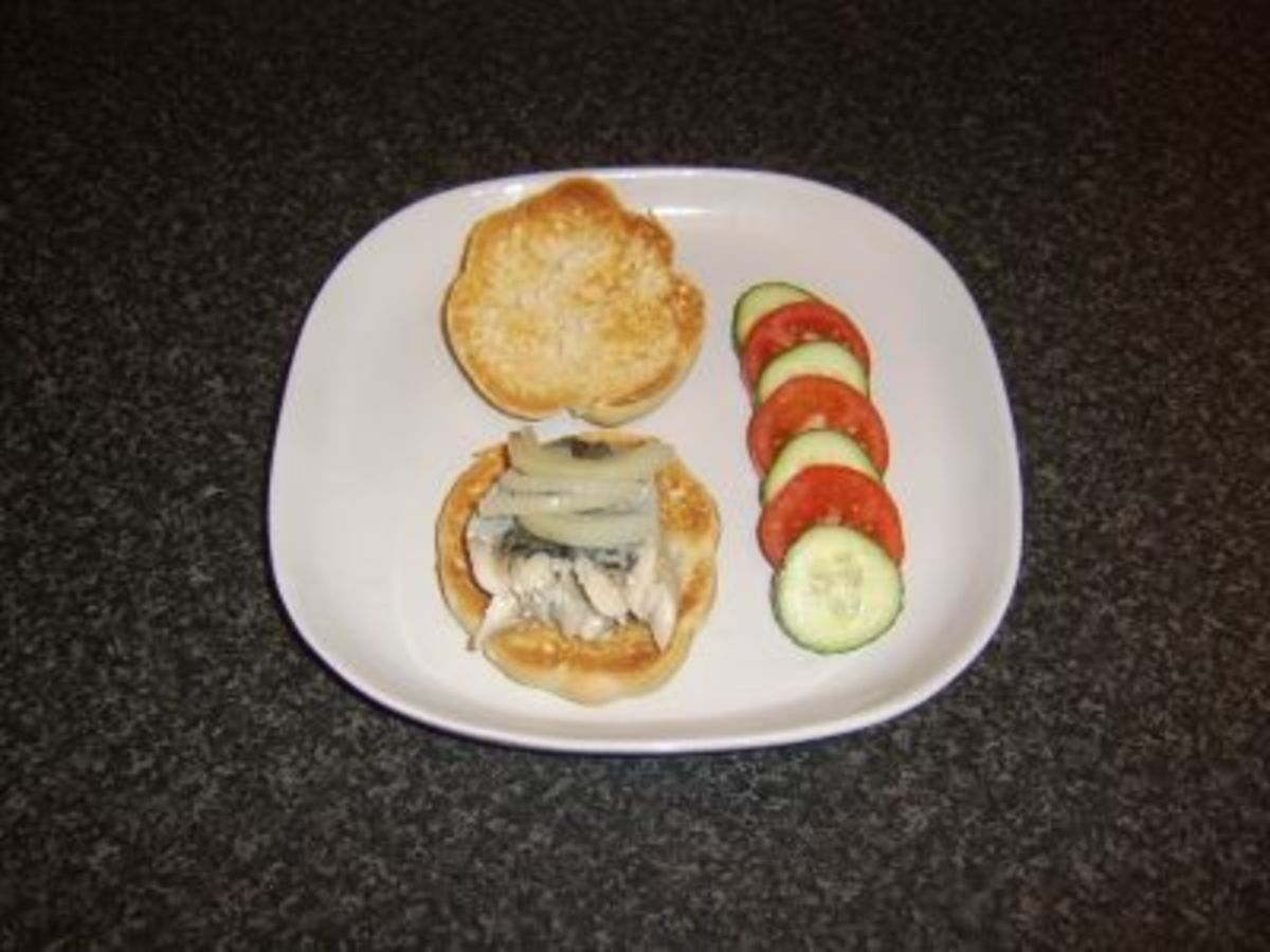 Poached Mackerel Fillet and Onion on Bread Roll