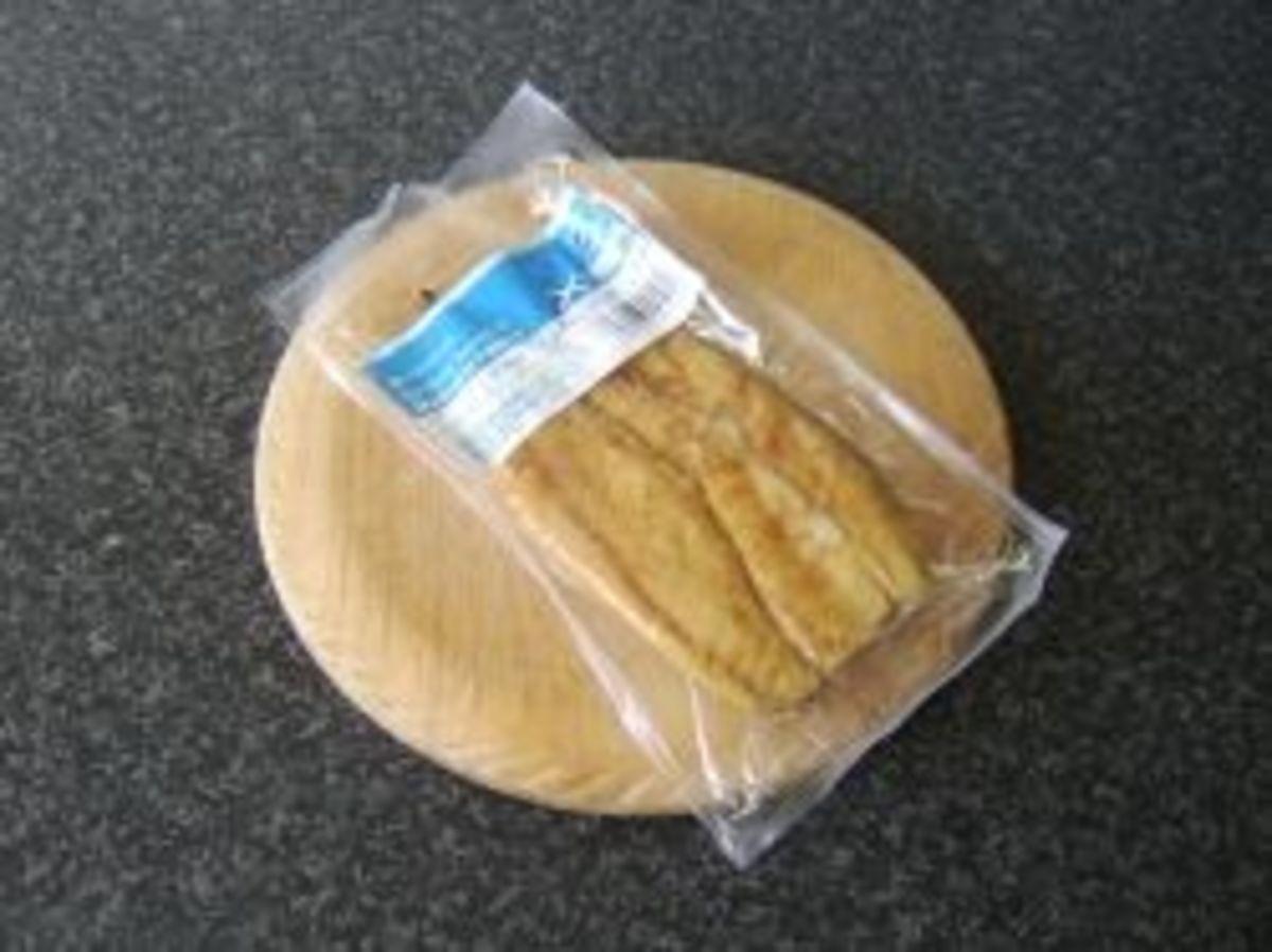 Supermarket pack of smoked mackerel