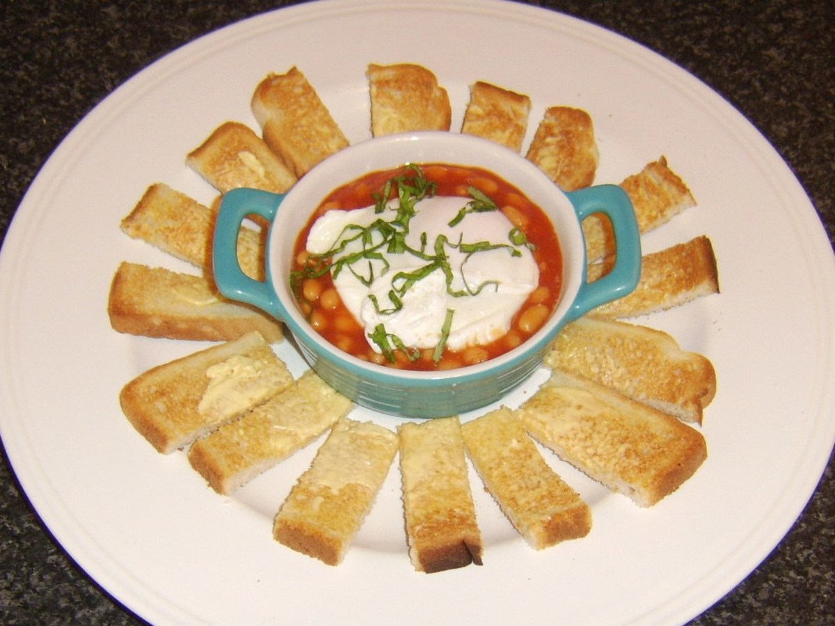 Baked Beans with Poached Egg and Toasted Soldiers