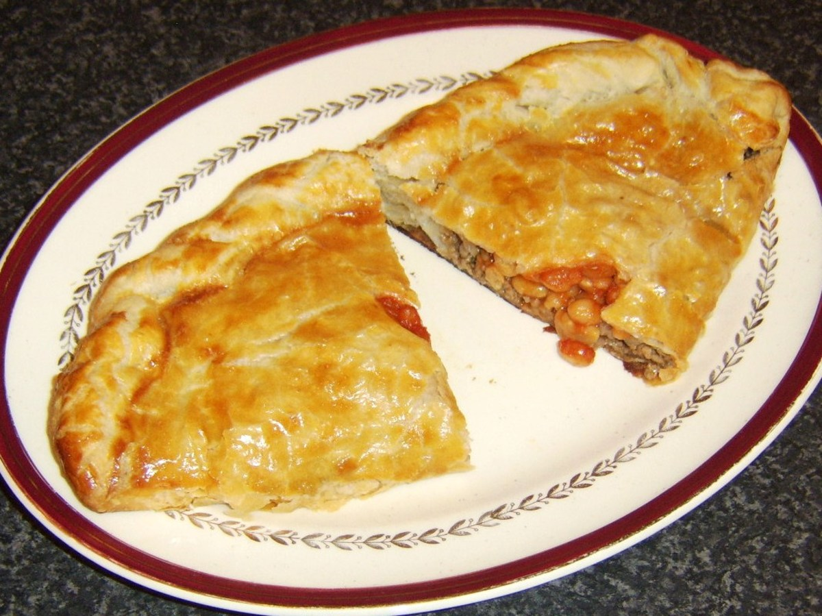 Baked Beans, Beef, and Onion Pasty