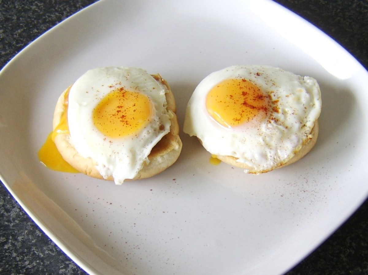 Baked Beans and Fried Eggs on Toasted Bread Rolls