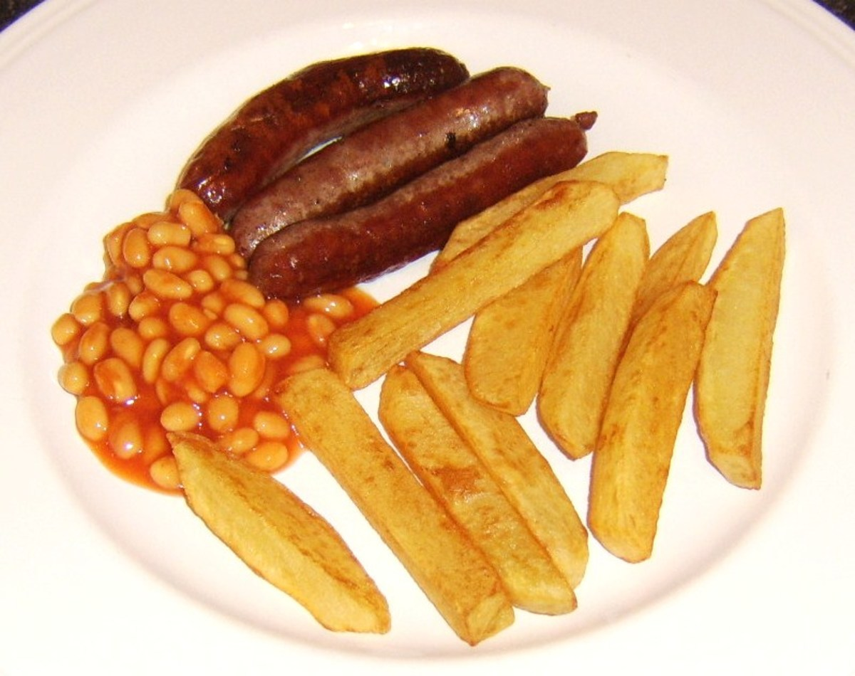 Sausages, chips, and beans is—in the eyes of many Europeans— stereotypical of the British diet.
