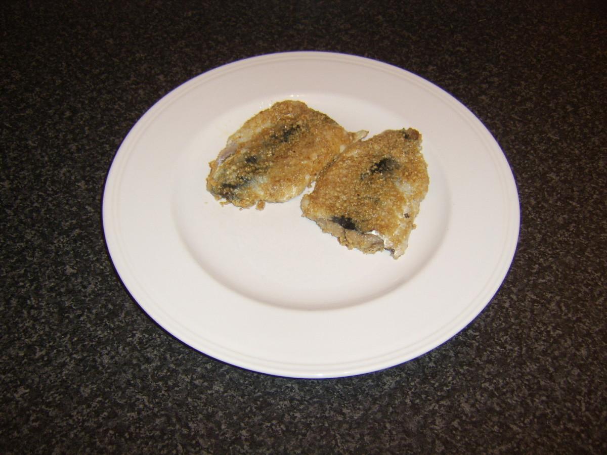 Herring fillets fried in oatmeal