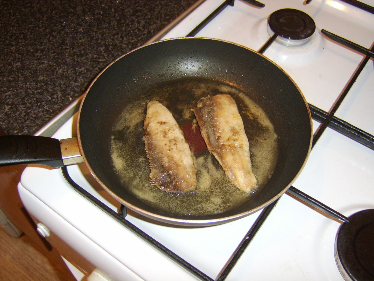Shallow frying the herring loin fillets