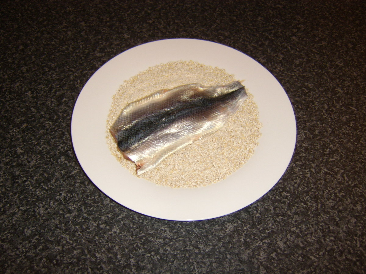 Herring is coated in oatmeal
