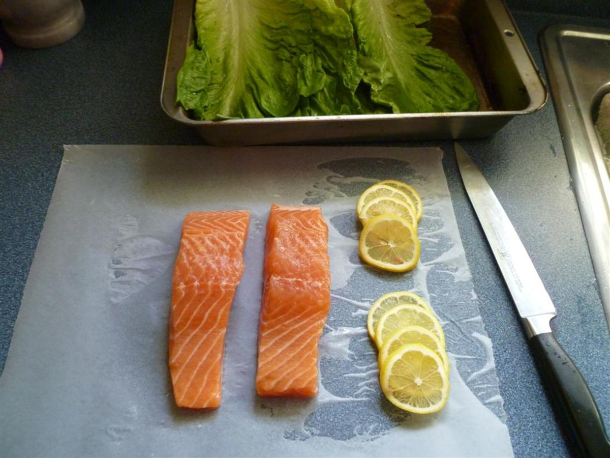 Salmon fillets, romaine lettuce, fresh basil and a lemon...that's it!