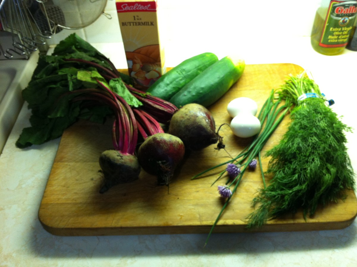 Buttermilk, fresh beets, cucumbers, eggs, chives, fresh dill