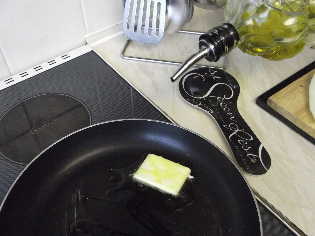 add the butter and olive oil to a large frying pan