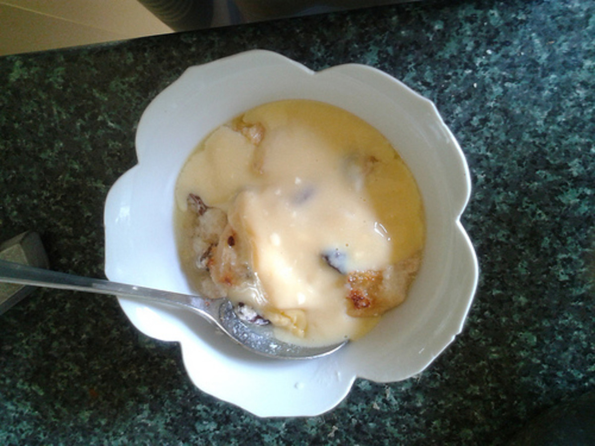 It's Traditional To Eat Bread And Butter Pudding With Custard Poured Over The Top