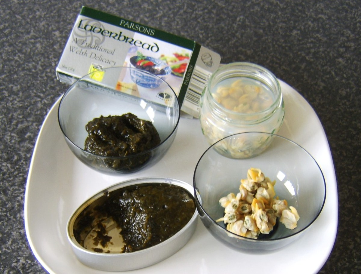Laverbread is made from seaweed while cockles are a type of shellfish