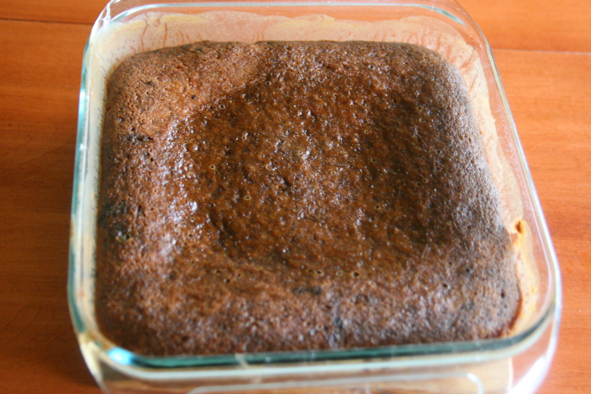 Bake at 350F until the cake is springs back when pressed in the center (approximately 25-30 minutes).