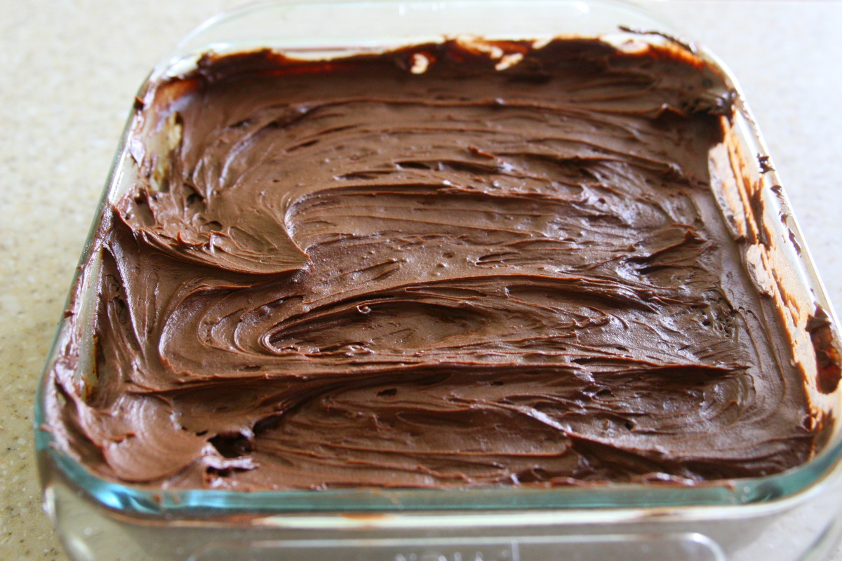 A dairy-free frosting complements the Wacky Cake. Traditional butter and milk may be used to make a butter cream frosting, if desired.