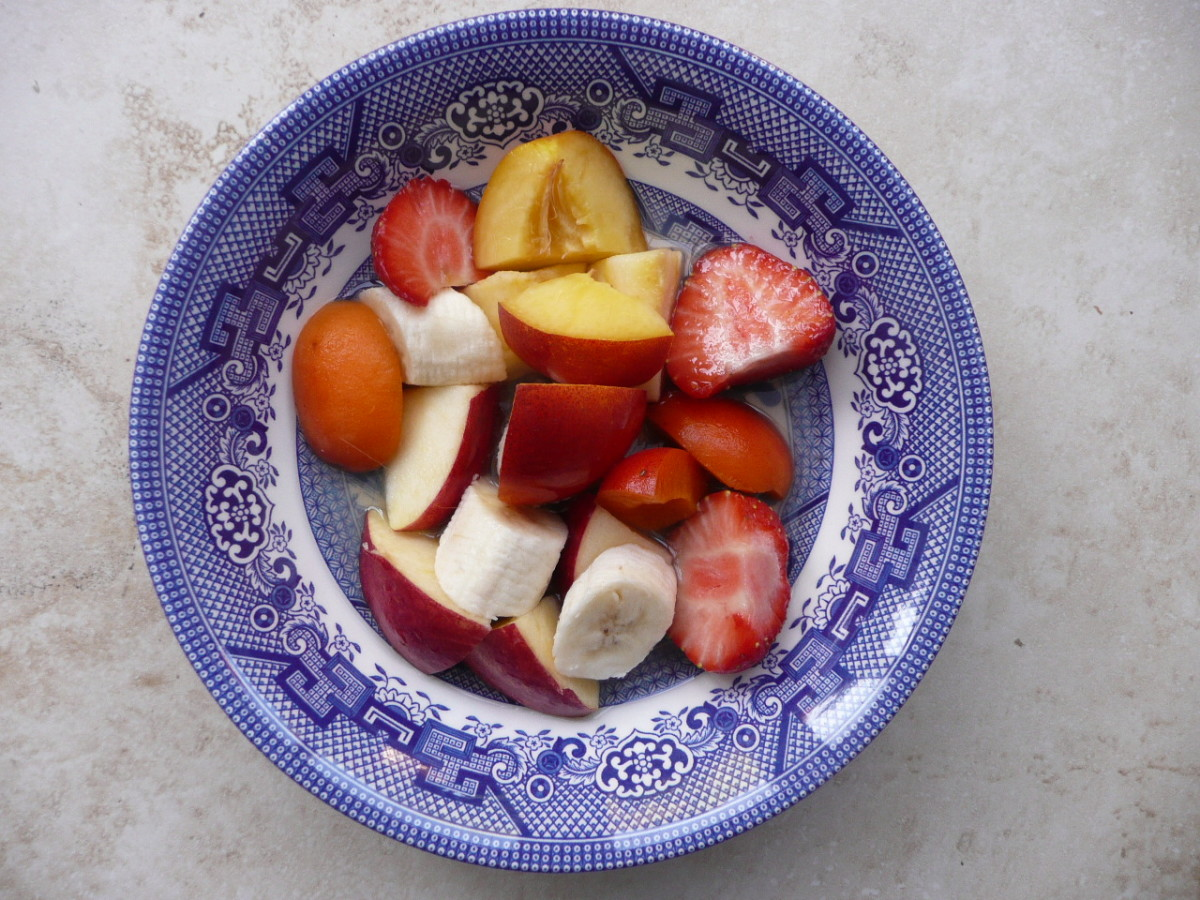 Chop fruit, add juice and eat!