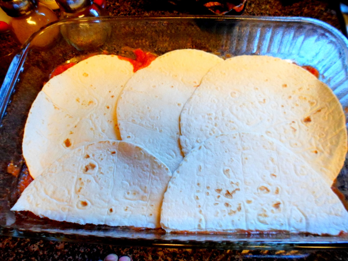 Add 4 tortillas to baking dish overlapping if necessary.