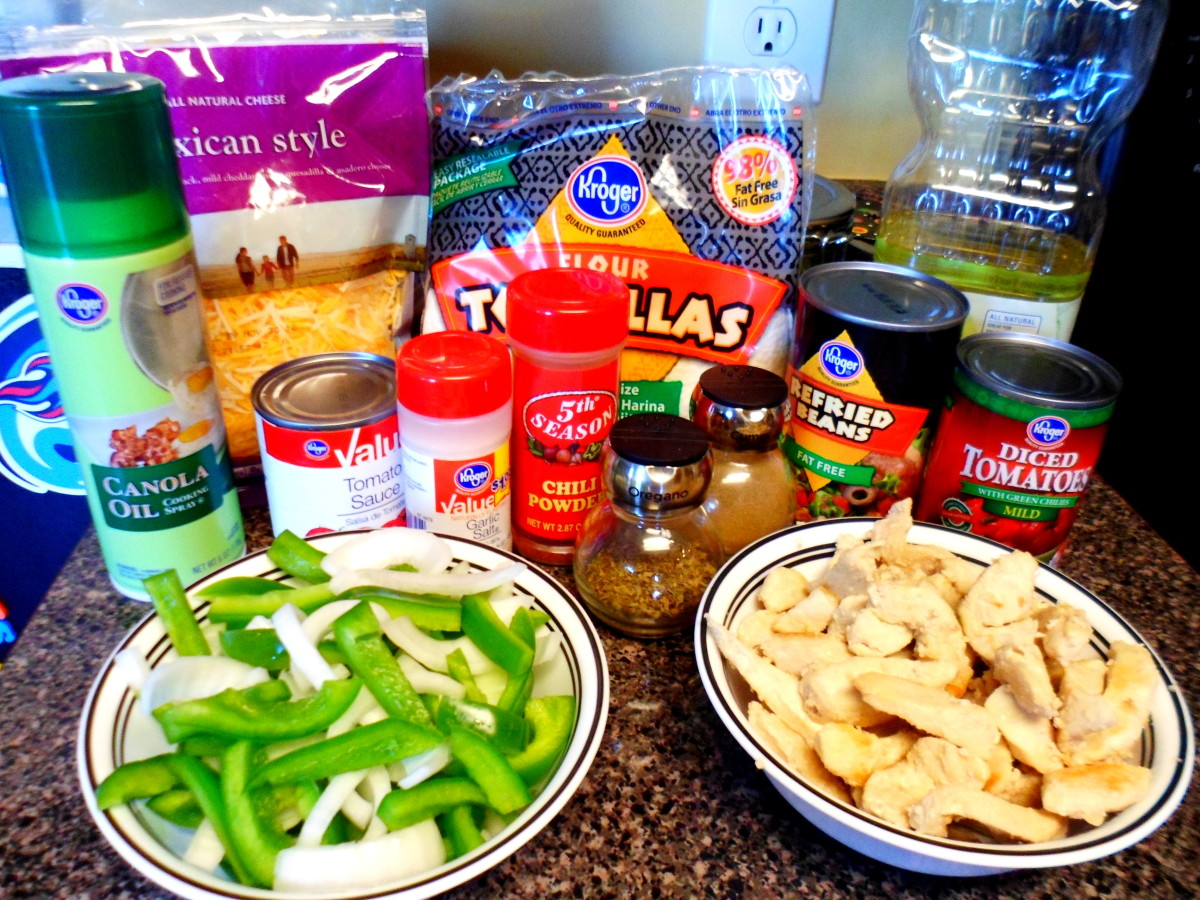Ingredients to make chicken fajita casserole.