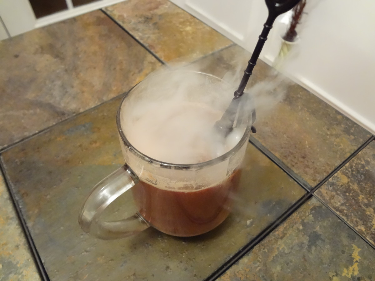 Hot chocolate with a dry ice swizzle stick.