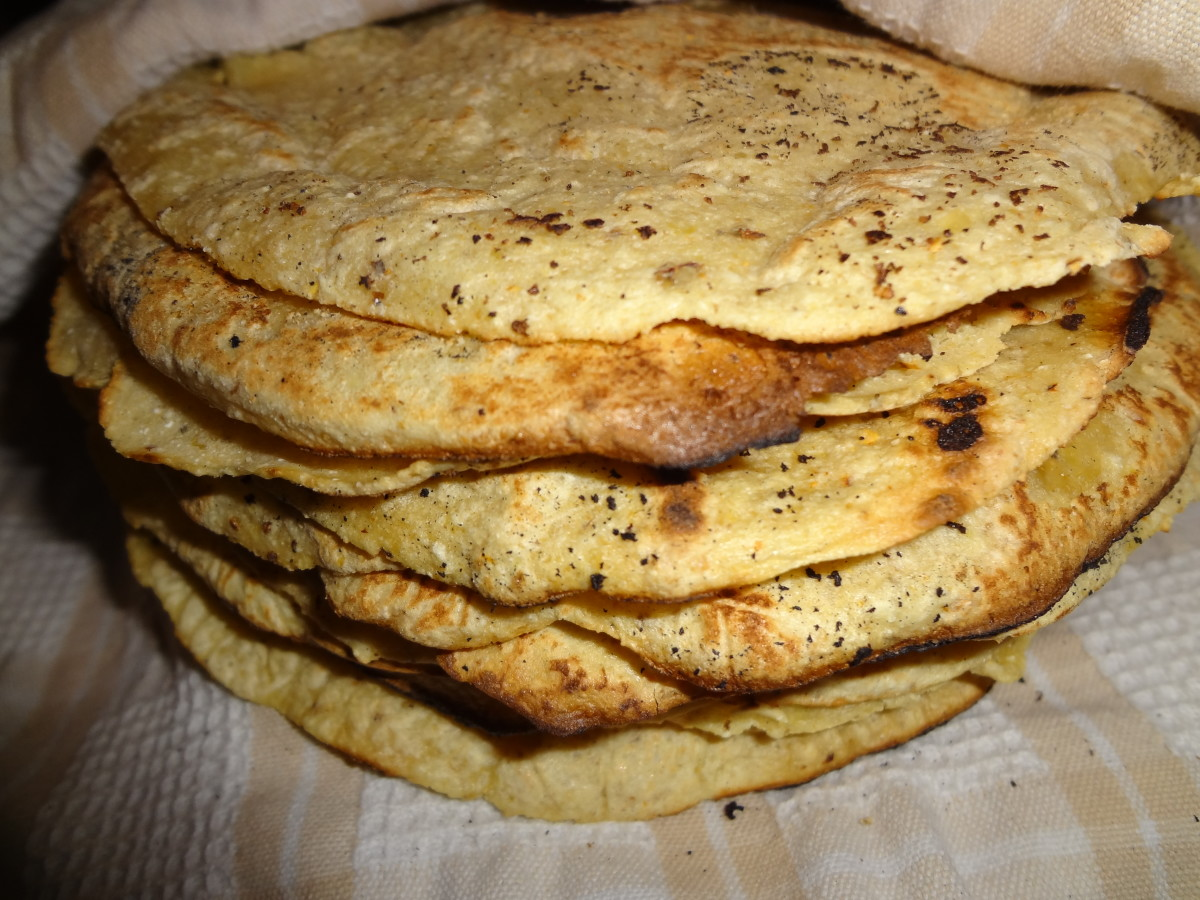 The completed homemade corn tortillas.
