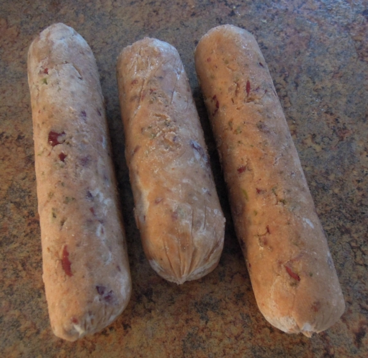 Frozen vegan bean sausages.