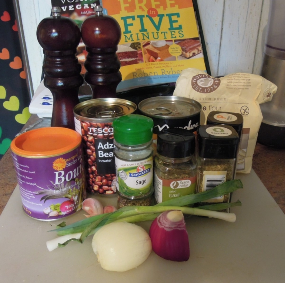 Ingredients for vegan sausages. These sausages are made using beans and are suitable for a range of allergy friendly diets.