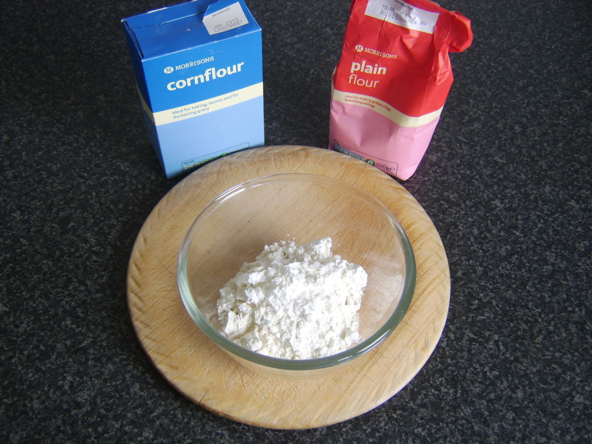 Flour is added to a mixing bowl