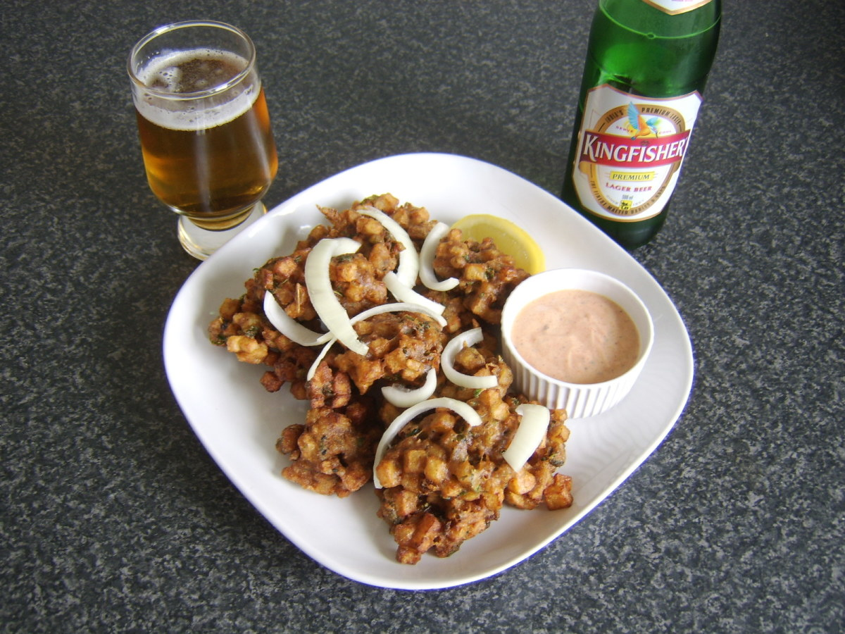 Indian beer definitely adds a little something extra to the vegetable pakora eating experience.
