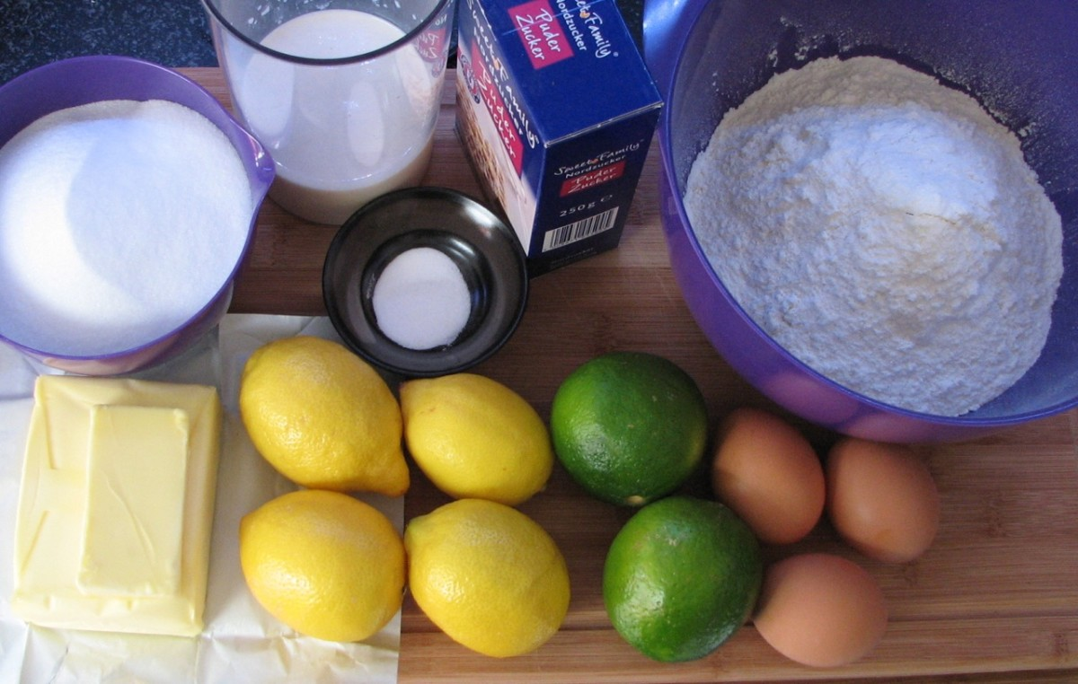 Lemon and lime cake ingredients - castor sugar, buttermilk, salt, bicarbonate of soda, icing sugar, flour, butter, lemons, limes, eggs. Not pictured - vanilla essence.