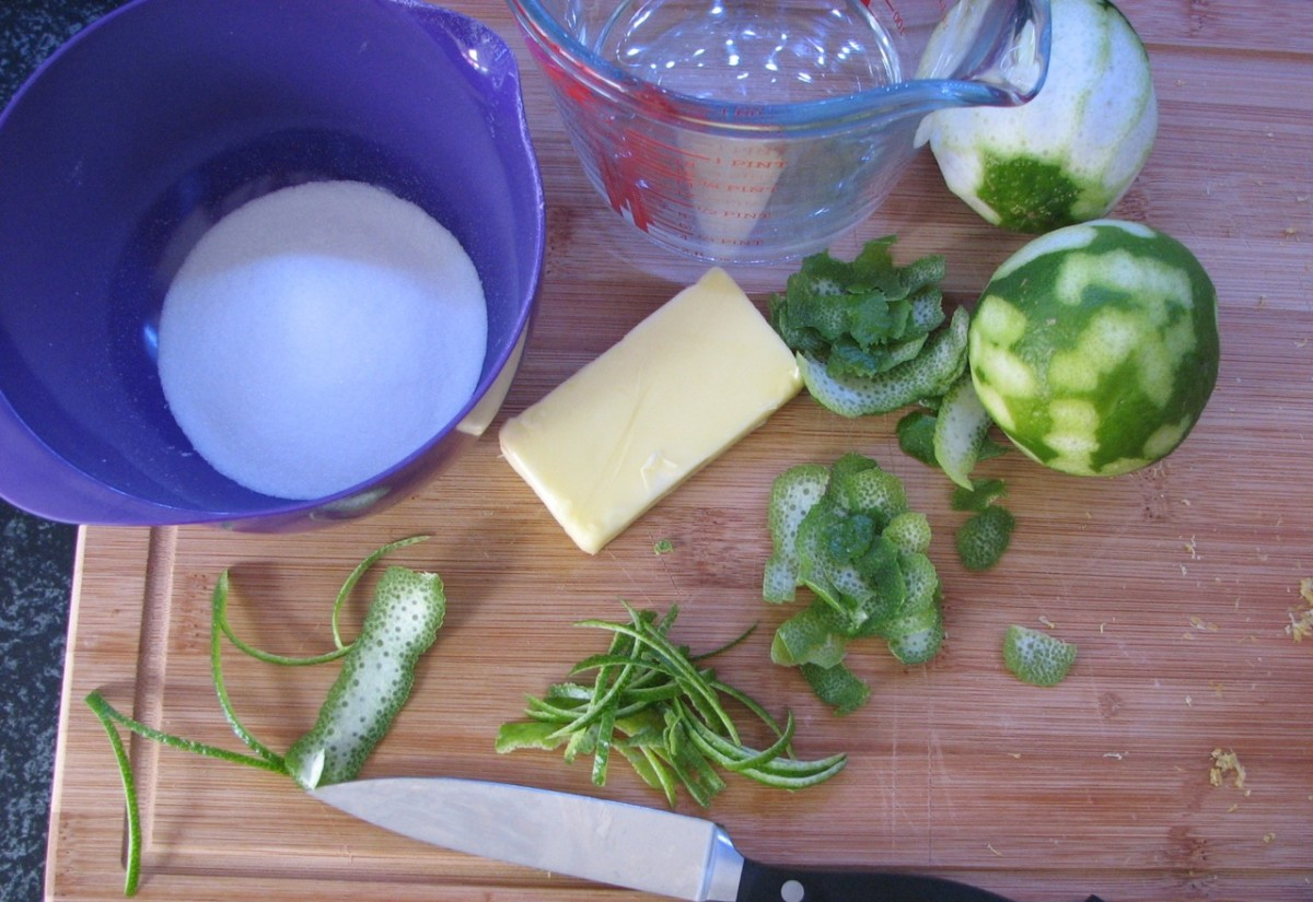 Preparing the lime slivers - cut any extra pith from the lime peel slices.