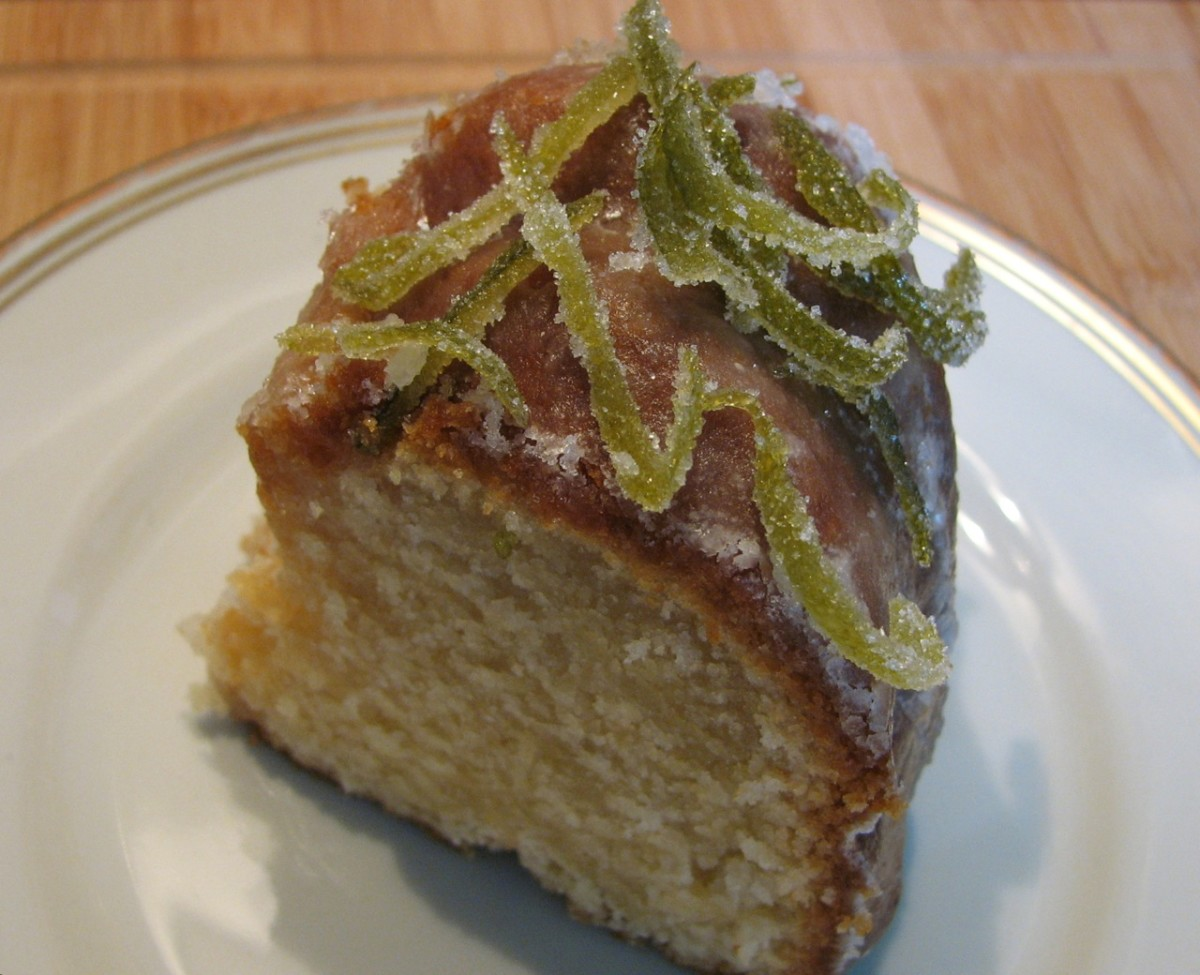 A piece of the lemon and lime cake, perfect with a strong coffee.