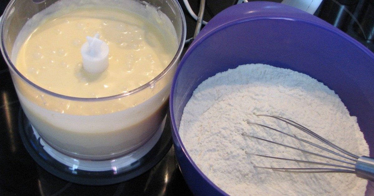 Mix the flour into the wet mixture until just blended.