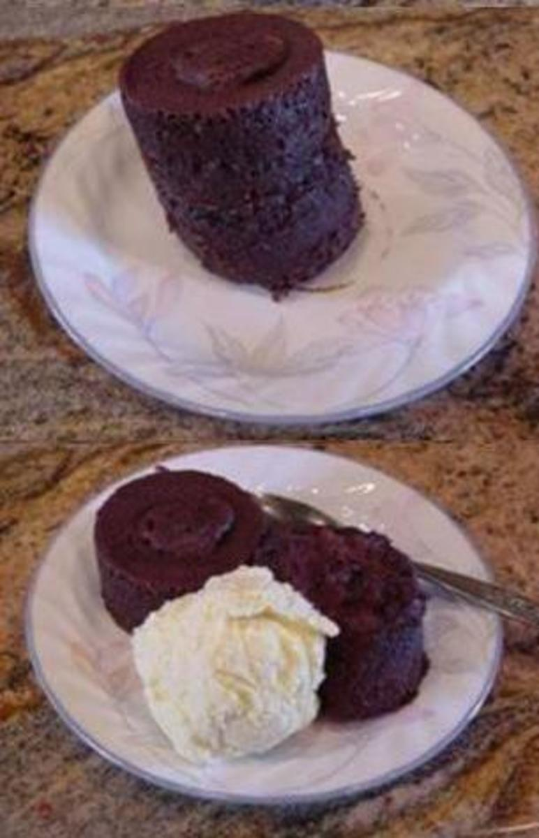This is how your chocolate mug cake will look when finished.