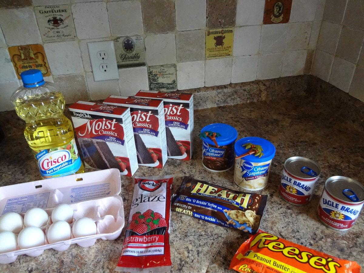 Here are the basic volcano cake ingredients.