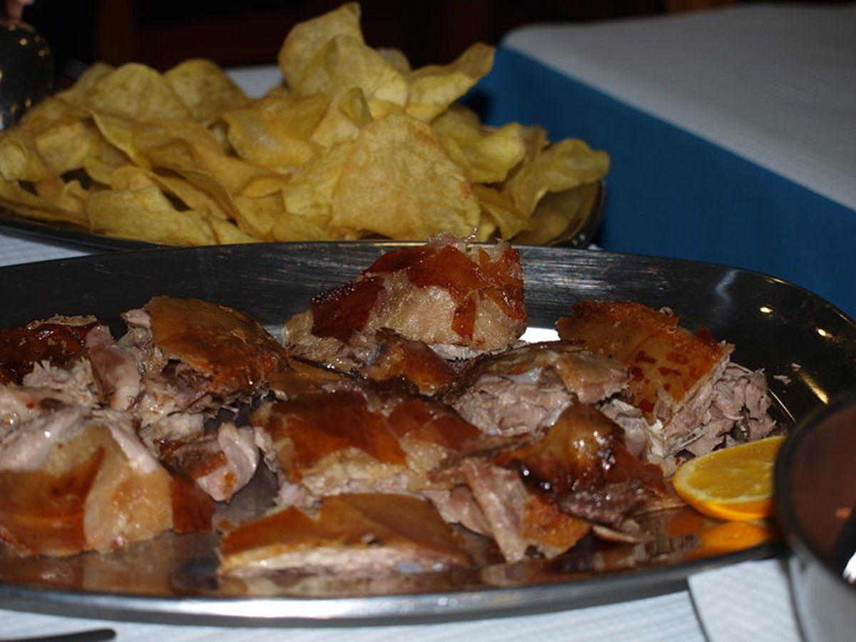 """""""Leitão à Bairrada"""", a portuguese suckling pig dish."""