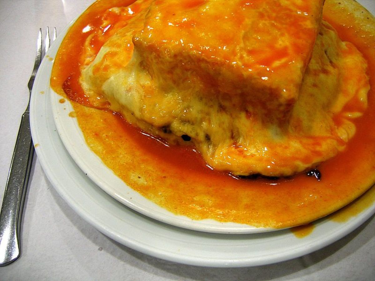 Francesinha, a typical Portuguese dish, in Vila Nova de Gaia.