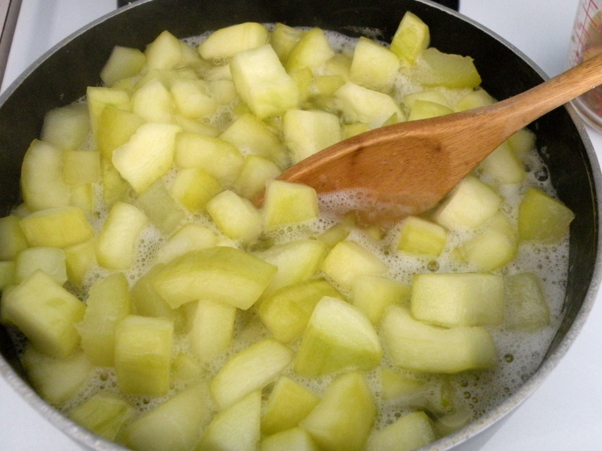 Place cut zucchini in saucepan with 3/4 cup lemon juice and 1 cup sugar. Cook about 10 minutes.