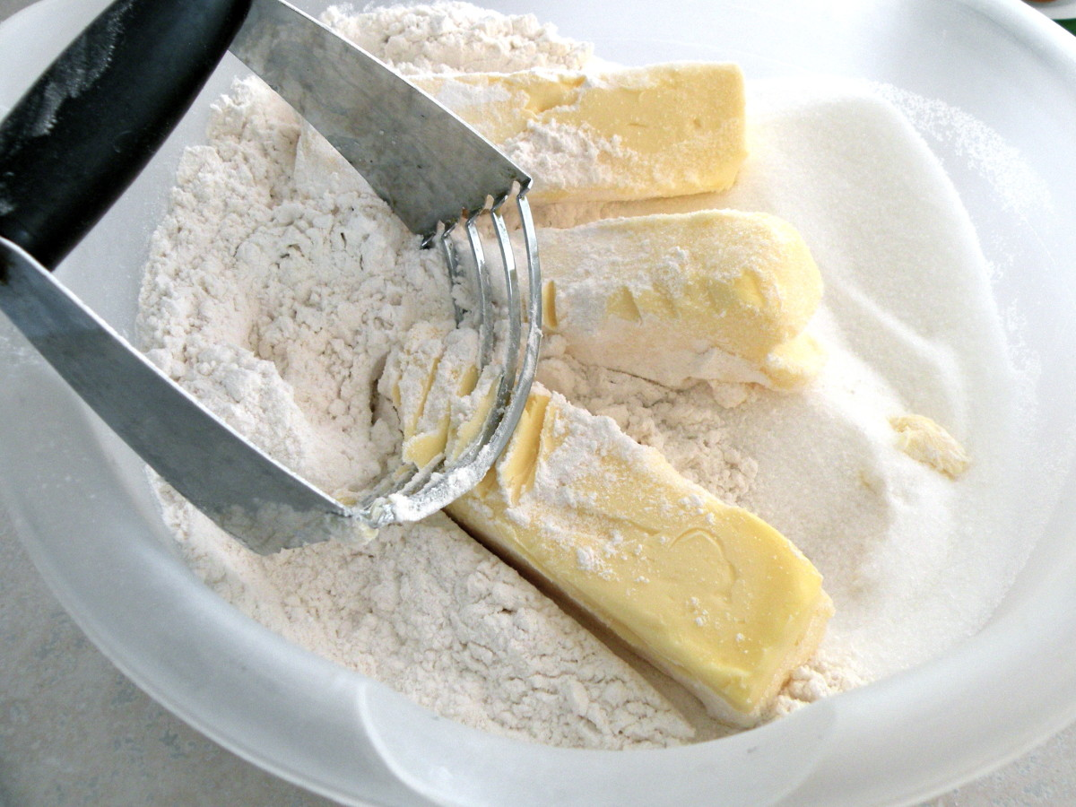 Mix flour and remaining sugar together and add butter.